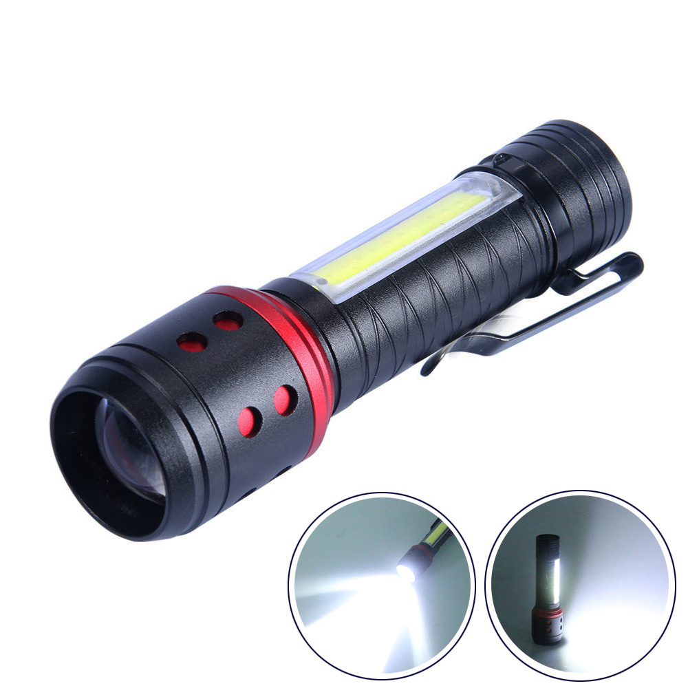 COB Mini Portable LED Flashlight Penholder Side Light Torch Lamp LED AA Batttery Torch Adjustable Zoom Focus Penlight Waterproof