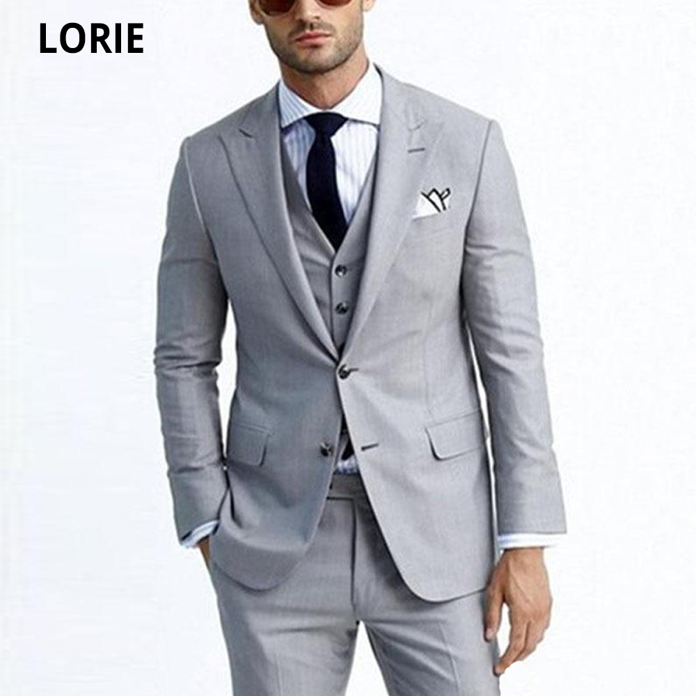LORIE Light Grey Groom Tuxedos Peak Lapel Groomsman Wedding Tuxedos Business Men Prom Party Formal Jacket Blazer 3 Piece Suit