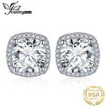 JPalace Cushion 5ct Cubic Zirconia Halo Stud Earrings 925 Sterling Silver Earrings For Women Korean Earings Fashion Jewelry 2020