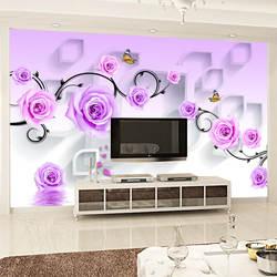 Пасторальный стиль 3D обои большая гостиная телевизор задний фон на стену фреска фиолетовые розы пленка и стена под телевизор ткань