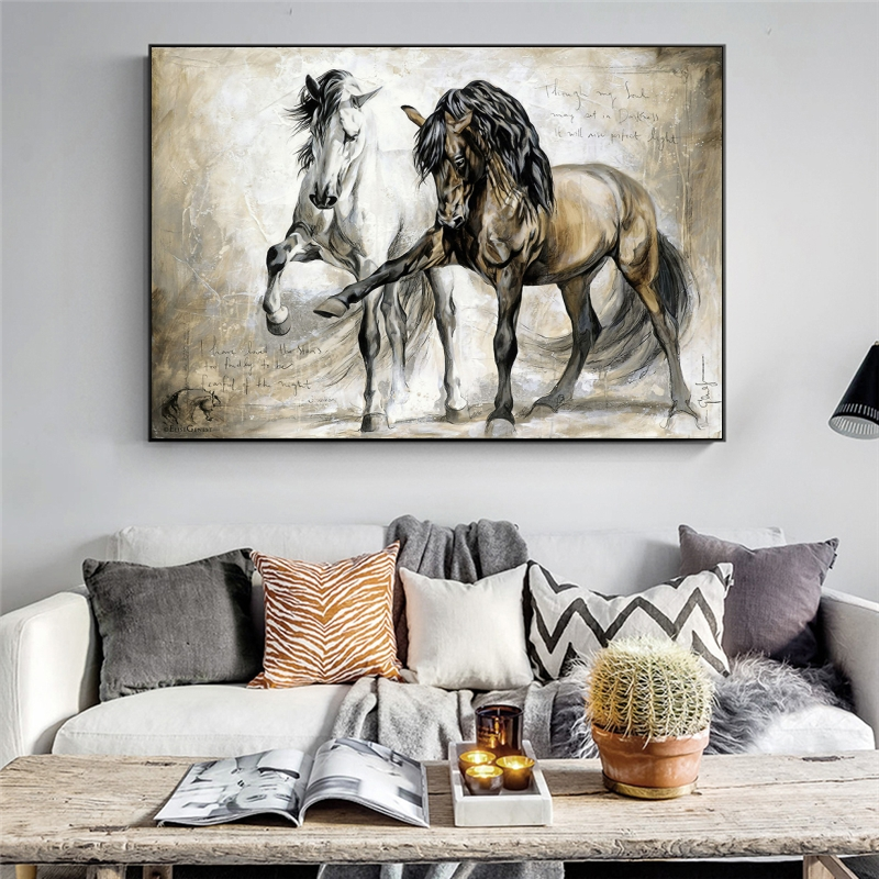 Retro Horse Oil Canvas Paintings Wall Art Poster and Print Abstract Animal Hanging Pictures for Living Room Home Decor(China)