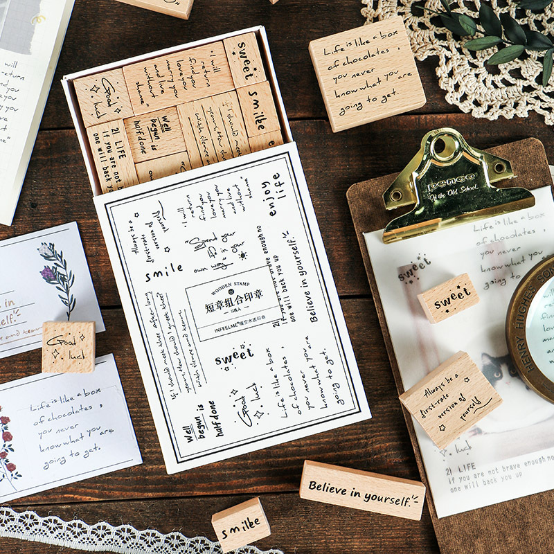 The Lovely Words Creative Wooden Stamps Pack 12 Designs Mixed DIY Stickers Deco Supplies