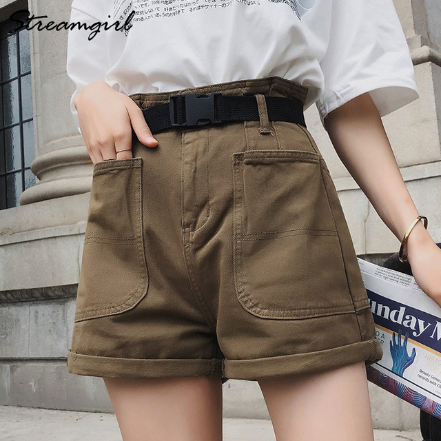 Summer High Waisted Shorts For Women With Belt Loose Short Jeans Women Denim Shorts With Pockets Jeans Short Woman Casual 4