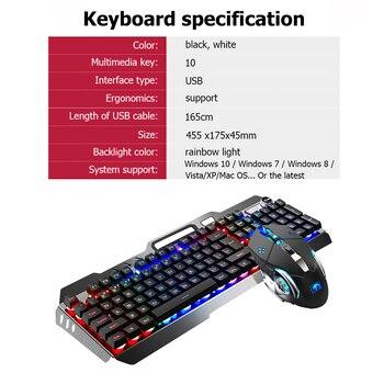 104 Keys Mechanical Feel Wired Gaming Keyboard Mouse Set Metal Phone Holder RGB Backlit Mouse Keyboard Set for Desktop Laptop PC 6
