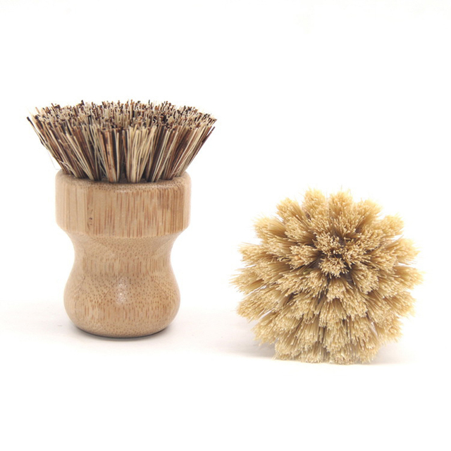 Useful High Quality Kitchen Cleaning Brush Sisal Palm Bamboo Short Handle Round Dish Brush Bowl Pot Brush Durable Cleaning Tool 4