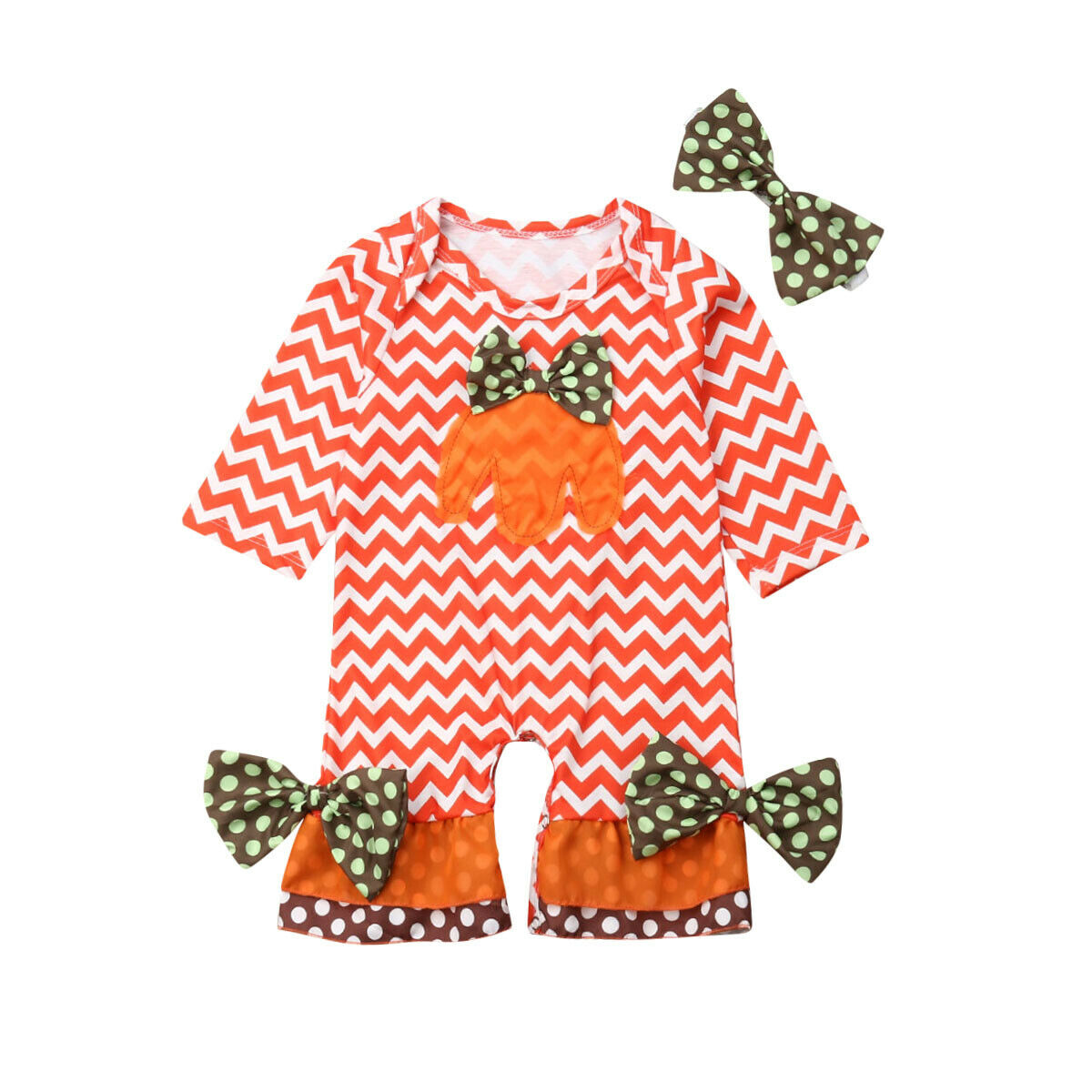 0-24M Newborn Infant Baby Girl Halloween Costumes Outfit Clothes Pumpkin   Romper   One Pieces Jumpsuit Headband Autumn Clothing