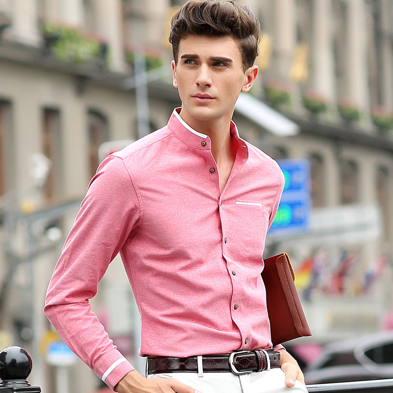 LUX ANGNER Men's Casual Shirt Long Sleeve Stand Collar Solid Shirts Slim Fit Men Business Dress Shirt