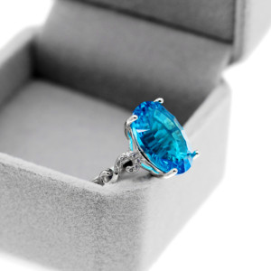 Image 5 - Uloveido Natural Blue Topaz Ring, 10 Carat Gemstone,925 Silver Rings,Birthstone Ring, with Certificate and Gift Box 20% FJ304