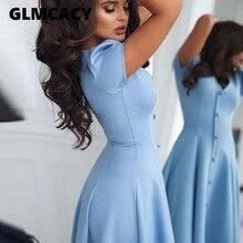 Women Elegant A Line Party Dress Summer Solid Color Button V