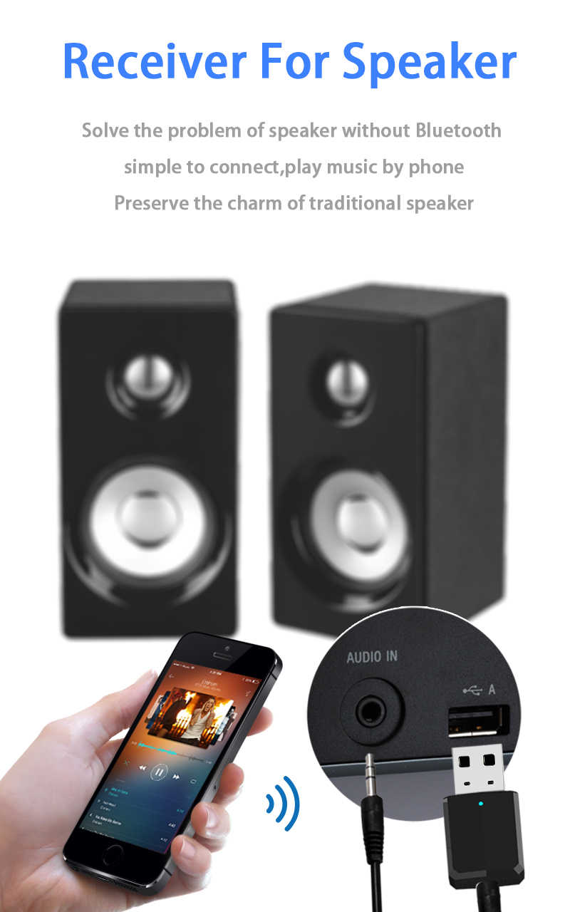 2019 Portable Mini 2in1 Bluetooth 5.0 Receiver Transmitter 3.5 Mm Aux USB Wireless Stereo Audio Adapter untuk Home TV MP3 /4 Buah Mobil
