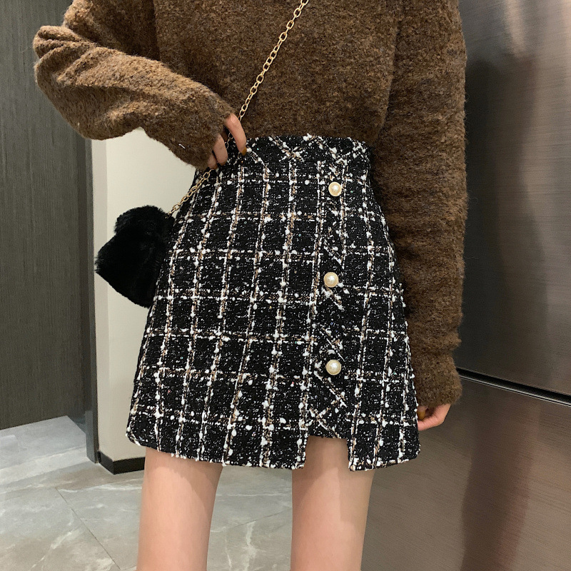Winter 2019 New Style Korean-style Fashion High-waisted Slimming Woolen Skirt Women's Retro Plaid A- Line Skirt Short Skirt Fash