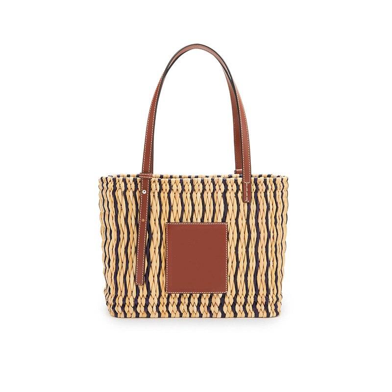 Plumn Women's Square Basket Bag In Reed and Calfskin Handlebag Top-Handle Bags