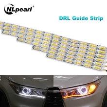 Nlpearl – ensemble de feux de voiture DRL LED, feux de jour, blanc, clignotant, Guide, jaune, 2 pièces