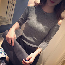 Autumn Wild off Shoulder Women's T Shirt Bottoming New Fashion Solid Color Sexy Knit slim Slimming Shirts Long Sleeved Top Women knit cold shoulder bottoming t shirts in black