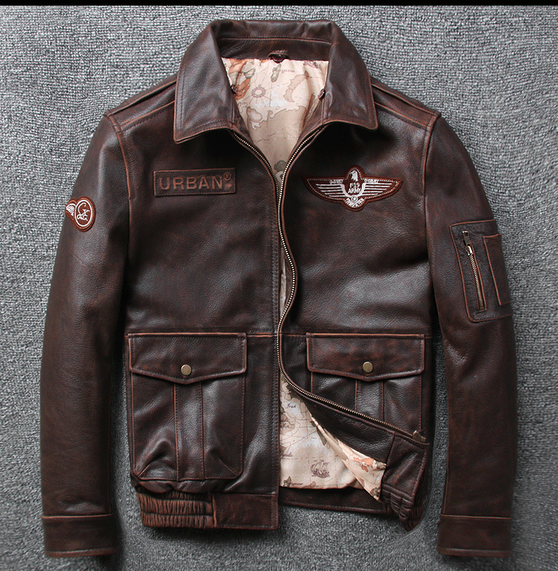 Hb644ea6094e04188a07b1368c8f4510fY 2019 Vintage Men's G1 Air Force Pilot Jackets Genuine Leather Cowhide Jacket Plus Size 5XL Fur Collar Winter Coat for Male