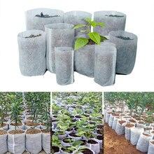 100 pces tamanhos diferentes biodegradáveis não-tecido berçário saco planta crescer sacos de tecido bolsa vasos de mudas eco-friendly plantio sacos
