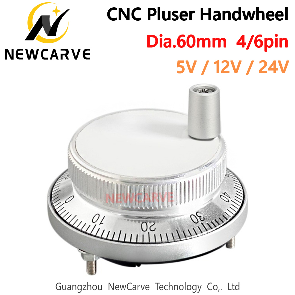 60mm 5V 12V 24V CNC Pulser Electronic Handwheel 4 6 Pin Pulse 25 100 Manual Pulse Generator Rotary Encoder NEWCARVE Handwheel     - title=