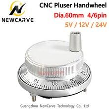 60mm 5V 12V 24V CNC Pulser Electronic Handwheel 4 6 Pin Pulse 25 100 Manual Pulse Generator Rotary Encoder NEWCARVE