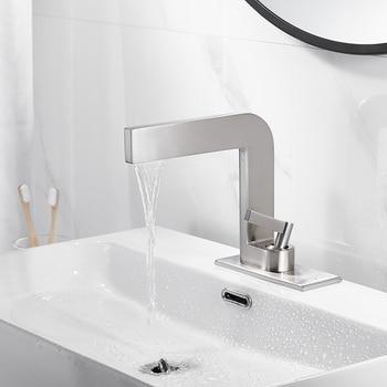 Basin Faucets Nickel Brass Bathroom Sink Faucet Single Handle Hole Faucet Basin Tap Grifo Lavabo Wash Hot & Cold Mixer Tap Crane