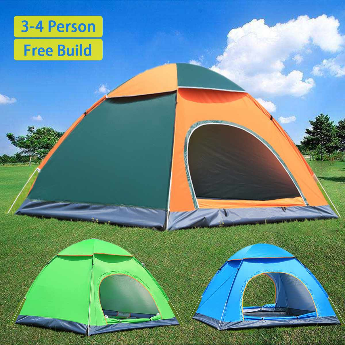 Automatic Family Tent Instant Pop Up Waterproof For Camping Hiking Travel Outdoor Activities
