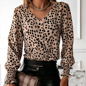 New Shirt Women Leopard Print Shirt Autumn Women T-shirt Female Long Sleeve Shirt Women Elegant Office Lady V Neck Button Tops women bandage elegant shirt dress new v neck long sleeve office lady fashion tide spring autumn dresses