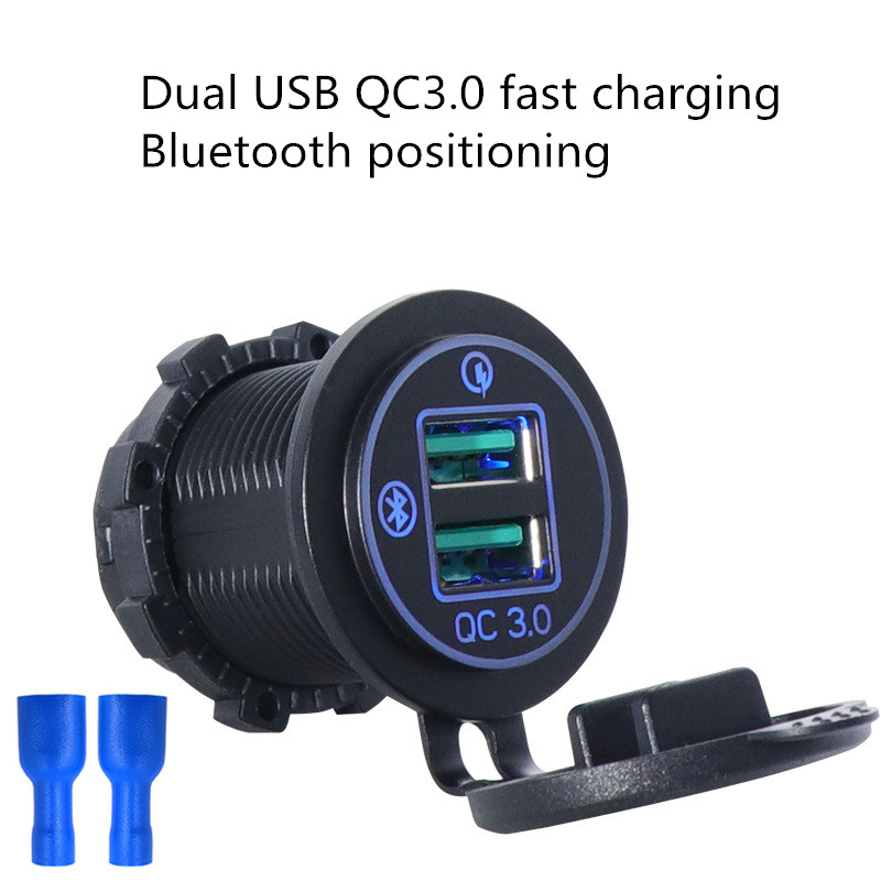 Universal QC3.0 Car <font><b>Charger</b></font> Led Dual-port <font><b>USB</b></font> Car <font><b>Charger</b></font> Multifunction Bluetooth Smart GPS Tracker Position <font><b>Auto</b></font> <font><b>USB</b></font> <font><b>Charger</b></font> image