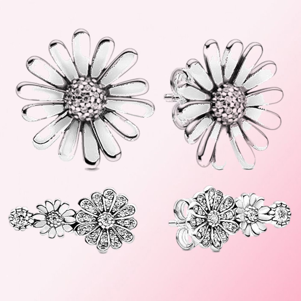 2020 Spring New 100% 925 Sterling Silver Sparkling Daisy Flower Trio Statement  Stud Earrings DIY Women's Charm Fashion Jewelry