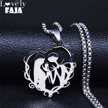AFAWA Gothic Couple Necklace Stainless Steel Love Necklace for Women/Men Silver Color Necklaces Jewelry gargantilla N4151S03