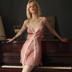Image 1 - Пикантная Пижама, кружевная Домашняя одежда с цветами, Женская Летняя шелковая ночная рубашка на бретельках с красивой спинкой