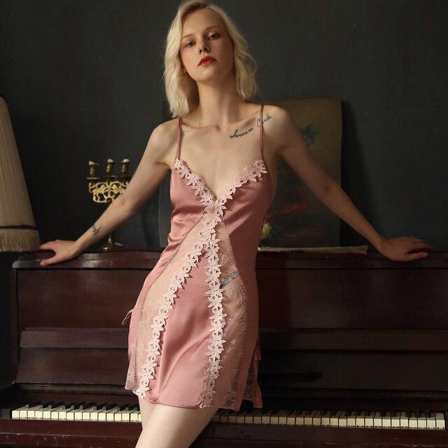 Пикантная Пижама, кружевная Домашняя одежда с цветами, Женская Летняя шелковая ночная рубашка на бретельках с красивой спинкой