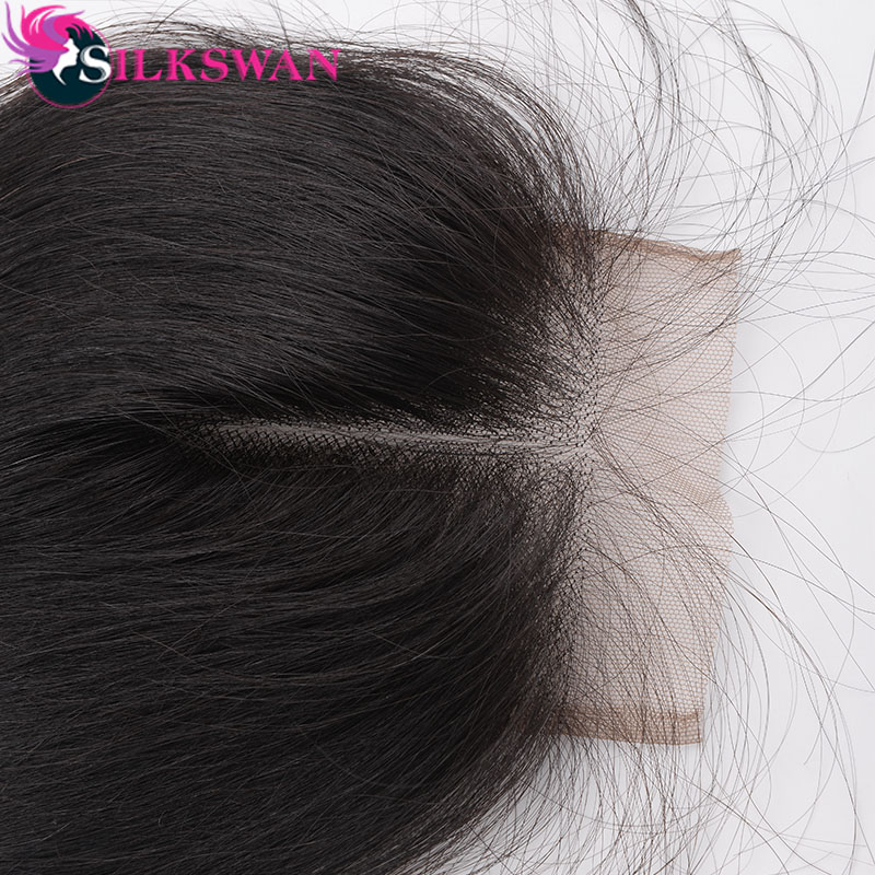 Silkswan Human Hair Extensions Bundles With Closure Body Wave 4*4 top closure Brazilian Remy Hair Weaves Double Hair Weft