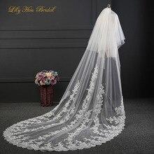 Два слоя кружева аппликации украшенные тюль фату покрыть лицо свадебные аксессуары для невесты