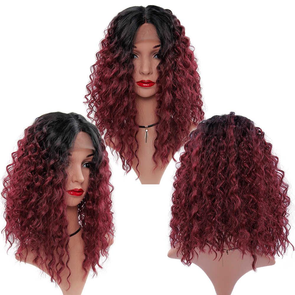 Yxcheris peruca dianteira do laço sintético 14 polegada cabelo curto kinky encaracolado perucas preto vermelho loira ombre marrom peruca dianteira do laço onda de água