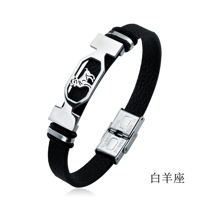 New Titanium Steel Retro 12 Constellation Mens Bracelet Punk Personality Leather Couple Jewelry