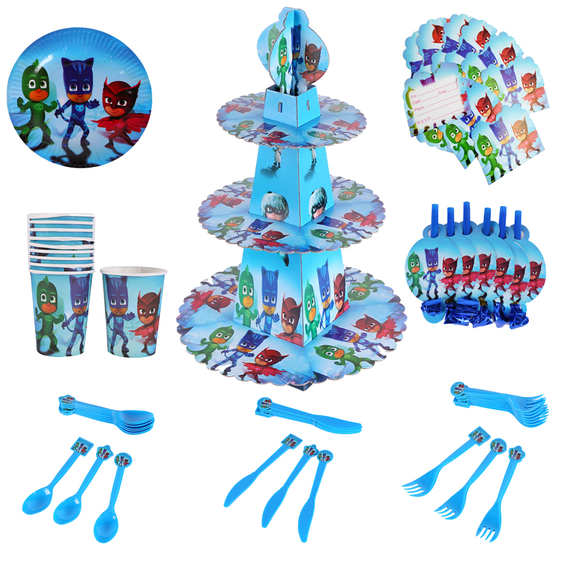 Pj Masks Toys Kids Children Happy Birthday Party Decorations Boys Cartoon Anime Figures Theme Disposable Tableware Supplies