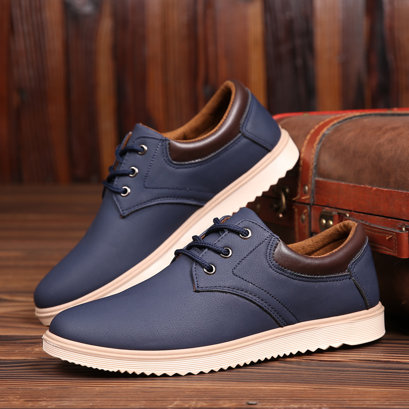 Mazefeng New Leather Shoes Men Flats Oxfords Shoes Fashion Design Men Causal Shoes Lace-Up Leather Shoes For Men Sneaker Oxford