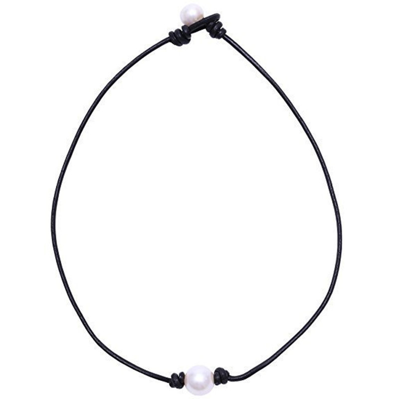 8-10mm Natural Freshwater Pearl Round Stone Beads Leather Necklace For Women Wedding Christmas Gift Fashion Chokers Necklace