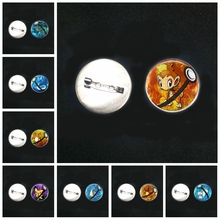 2019/ New Stainless Steel Pokemon Pikachu Brooch Cartoon Surrounding Glass Convex Round Pin Men and Women Brooch Badge Gift