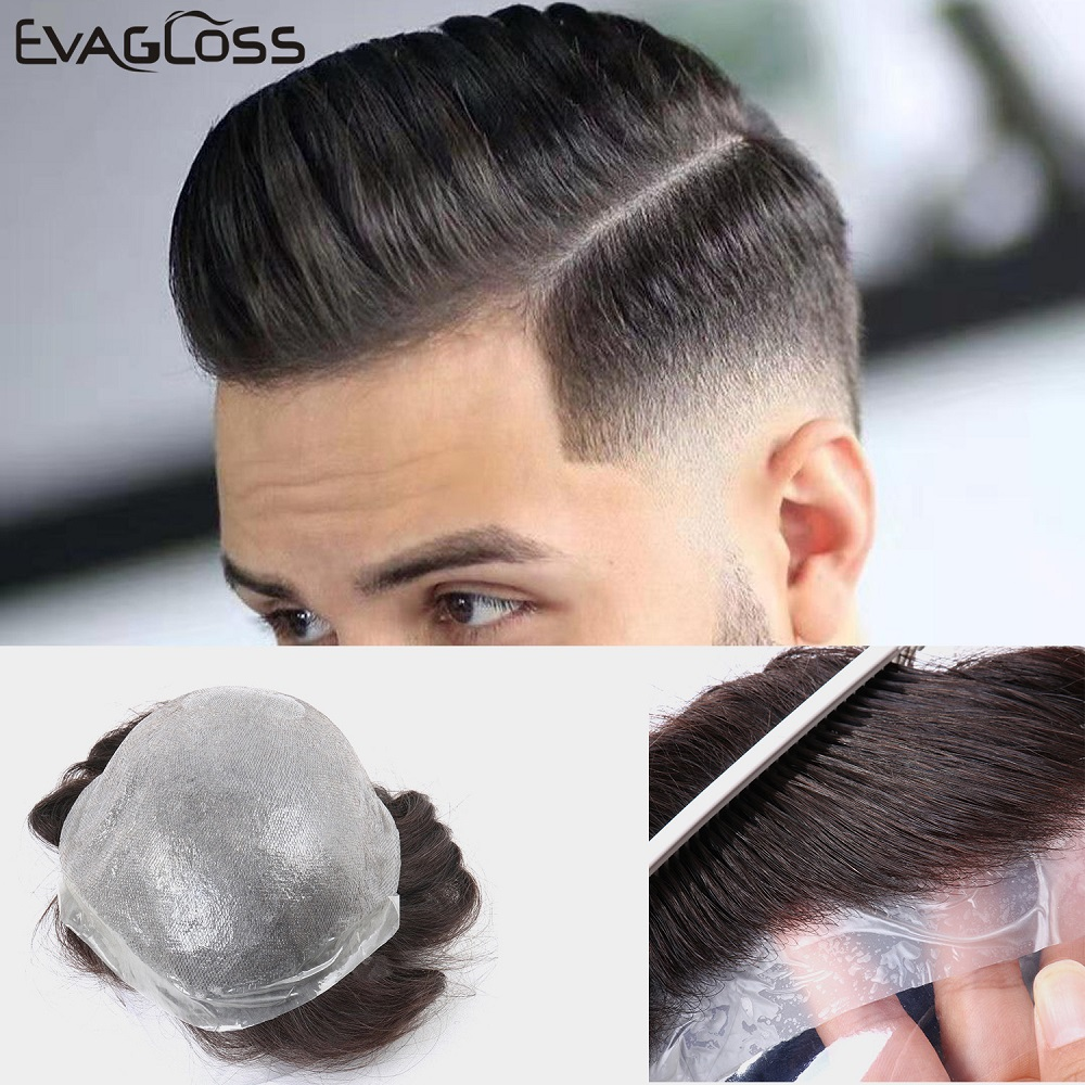 EVAGLOSS Men's Wig 0.12-0.14mm Super Thin Skin Indian Human Hair Male Wig Strong Knot Hair Replacement System Men's Toupee
