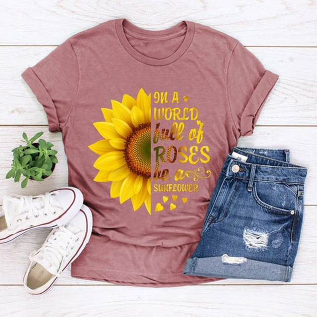 Plus Size 5XL New Fashion Pink Tee Shirts Short Sleeve O Neck Sunflower Letters for Women New Tshirts Casual Tops Shipping 1