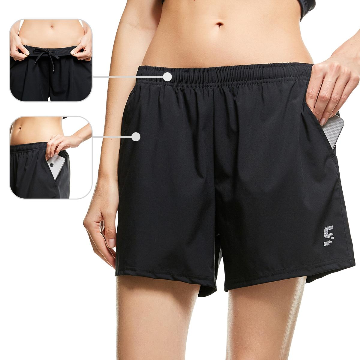 Женские шорты 2 в 1 для йоги, фитнеса, бега, велосипедных тренировок, шорты для спортзала, быстросохнущие спортивные брюки из спандекса с карм...