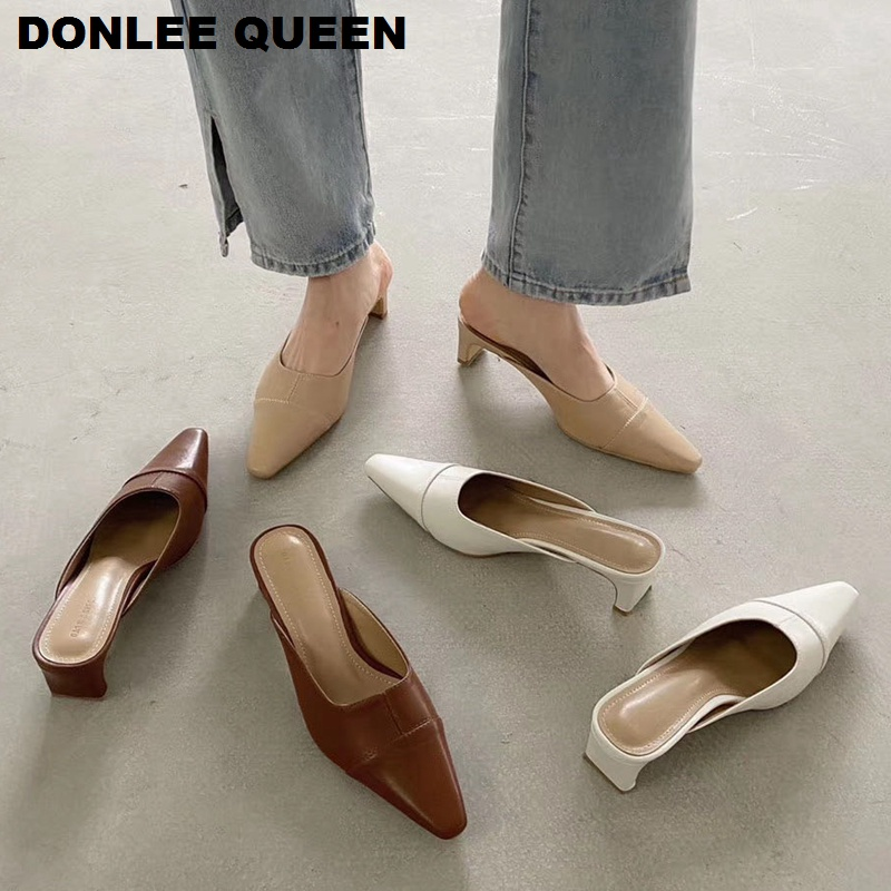 Fashion Women Square Toe Slippers Square Low Heels Mules Shoes Women Outsides Slides Luxury Brand Slipper Shoes Zapatos De Mujer
