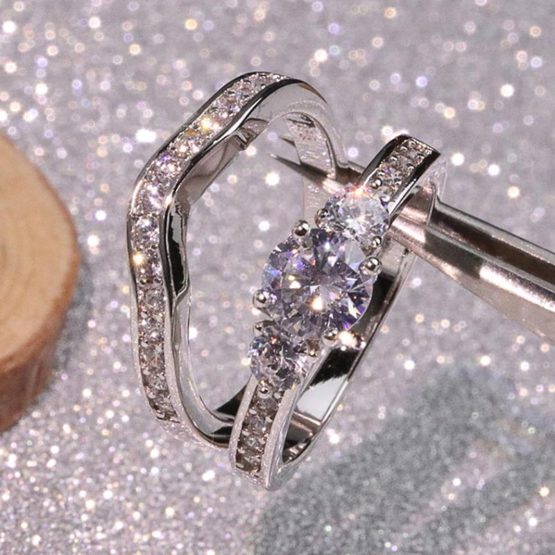 Male Female Couple Anniversary Ring Zircon CZ Engagement Wedding Band Rings for Women Bridal Jewelry