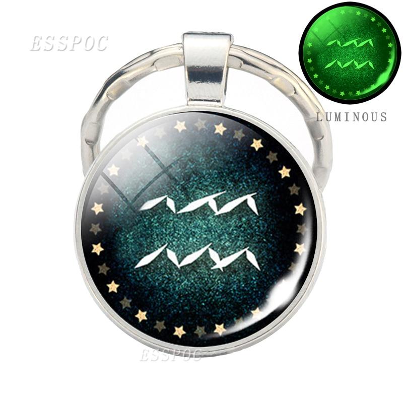 12 Constellation Luminous Keychain Glass Pendant Zodiac Keyring Birthday Gift