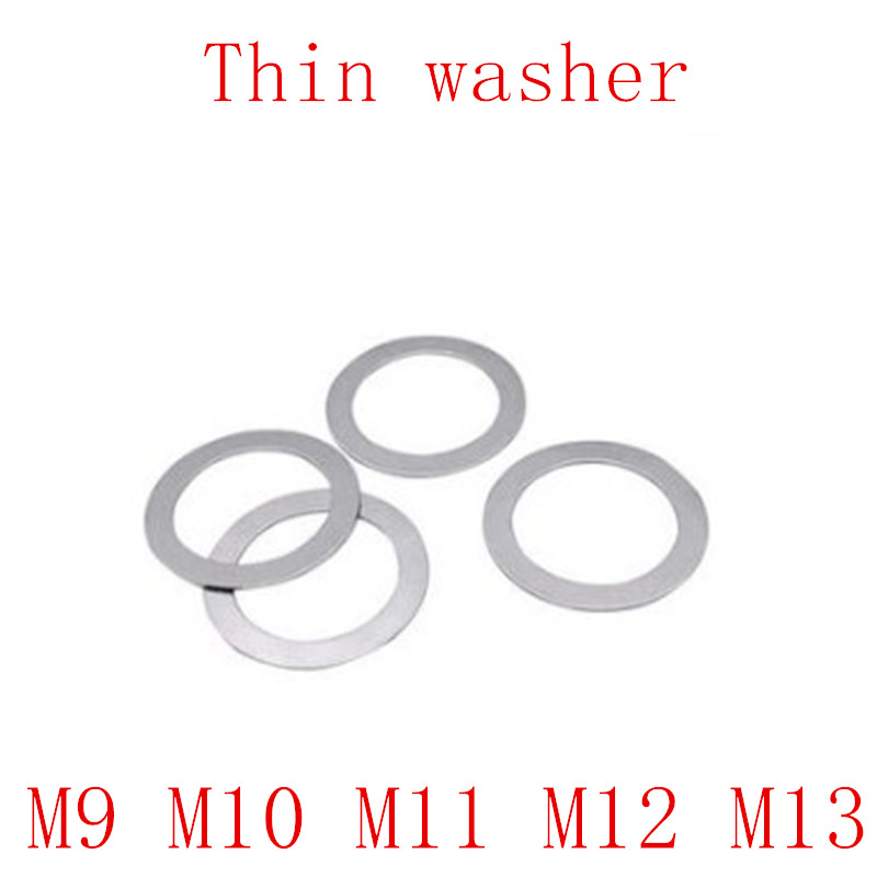 100pcs M9 M10 M11 M13 Stainless steel Flat Washer Ultrathin gasket Thin shim thickness 0.1 0.2 0.3 0.5 1mm|Washers|Home Improvement - title=