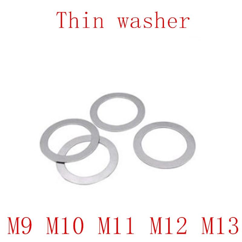100pcs M9 M10 M11 M13 Ultrafinos Arruela Plana junta de aço Inoxidável Fina espessura do calço 0.1 0.2 0.3 0.5 1mm