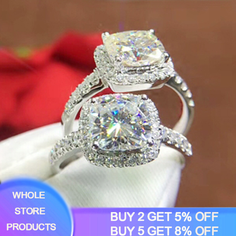 Free Sent Certificate Luxury 10%% Original 925 Silver 8*8mm 2 Carat Square Crystal Zirconia Diamond Wedding Rings For Women Girl