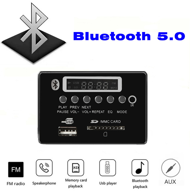 Bluetooth 5.0 MP3 Bluetooth Decode Board Plays Lossless Format Audio, With FM USB SD Card Folder To Play Wood Audio Panel