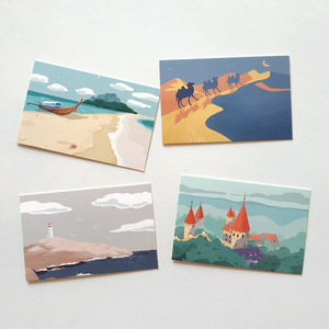 28 Pcs/Set Creative Travel Notes Lomo Card DIY Hand Painted Mini Postcard Birthday Gift Card Message Card 52*80mm