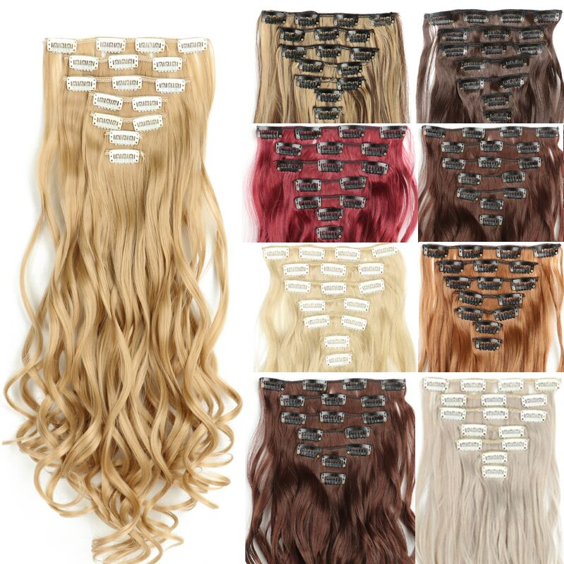 """WERD 16 Clips In Hair Extension Body Wave 22"""" Hair Extension Clip For Women Synthetic Hair Extensions Brown 613# Ombre Color"""